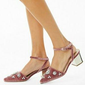 Embellished Velvet Block Heels